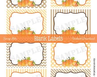 Printable Watercolor Pumpkin Food Labels, Thanksgiving Tags, Printable Watercolor Fall Tags, Pumpkin Food Labels . Instant Download