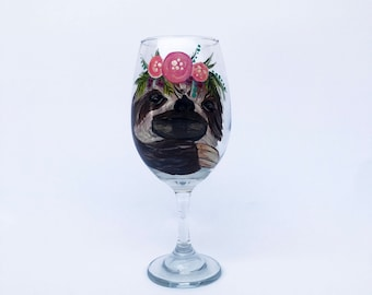 Sloth Wine Glass – 21 oz Hand Painted Wine Glasses