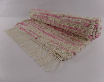 Sweetheart 2, a handwoven rag rug, hand dyed and made especially for you. This rug is color/fast, wash/fast, and machine washable.
