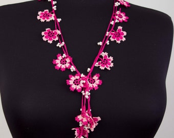 Charm neckalace ,Crochet Strand necklace  jewelry . crochet flower necklace ,Pink ,dark pink, fuchsia