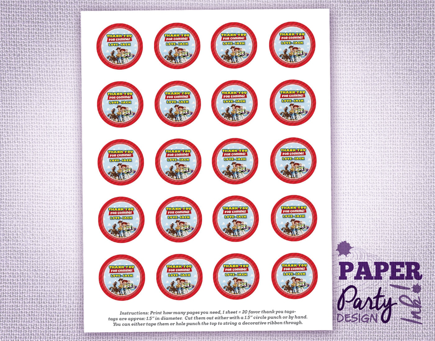 Toy Story Party Small 1.5 Personalized Thank You Tags