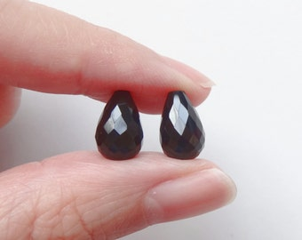 Black Agate Half Top drilled Faceted Teardrops 7x11 mm One Pair for earrings K7010