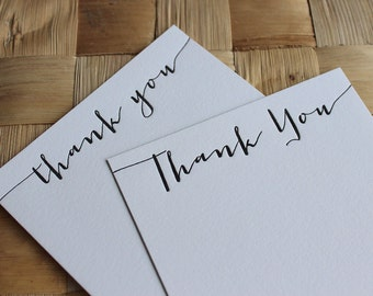 Letterpress Thank You Cards - Calligraphy