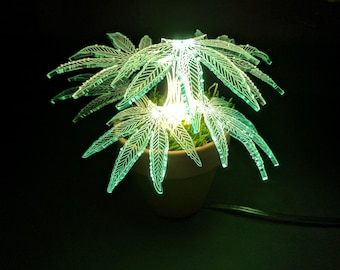 Weed Lamp - Plant Lamp - Desk Lamp - Housewarming Gift - Table Lamp -  Led Lamp - Unique Lamp - Night Light - weed Decor.