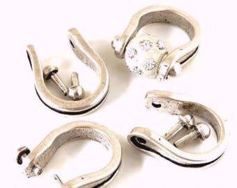 Open ring with studs Metal Zamak - for bead hole 3mm - silver aged - ABAM16AG115
