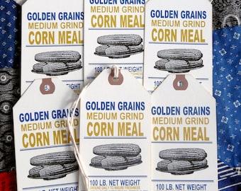 Primitive Ground Corn Meal Grain Feedsack Gift or Scrapbook Tags #1247