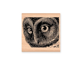 OWL FACE Rubber Stamp~Owl Head Stamp~ Nature~Animal~Halloween Party Decor~ Wood Mounted Stamp~Mountainside Crafts (48-06)