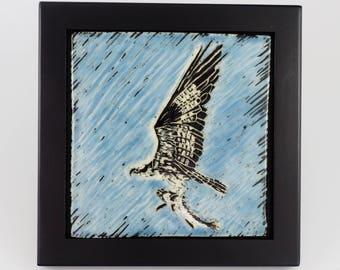 Birding, Birder Art, Osprey with fish, Carved Wall Tile, Bird Lover, Framed Art Tile, Wall Tile,  Framed Tile, Sgraffito Tile, Carved Tile
