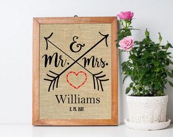 Wedding Gifts, Mr. & Mrs. Personalized Wedding Print, Burlap Anniversary Decor, Housewarming Gifts, Couple's Wedding Prints, SBP050