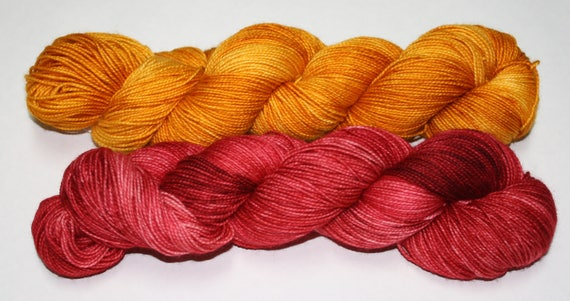 Dyed to Order - Black Cherry and Gold Hand Dyed Yarn Shawl Set
