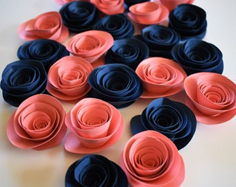 Navy and Coral Loose Paper Flowers, Wedding Flowers, Paper Roses