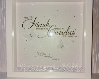 Best Friends We Choose For Oursleves Quote in Wooden Picture Box Frame