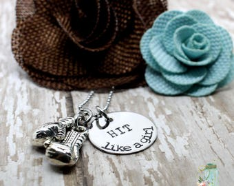 Hit like a girl boxing glove necklace