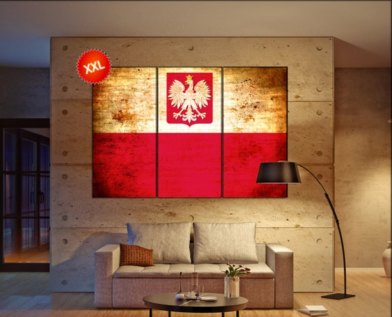Poland flag canvas wall art art print large  canvas wall art print Poland flag country flag Wall Home office decor interior Office Decor