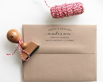 Personal Calligraphy Rubber Stamp for couples, return address stamping and customized gift for holidays, housewarming and weddings