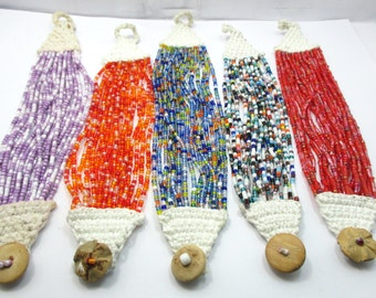 mix 5 strands of Hippie Boho Handmade glass seed beads Crochet or Knit Bracelets