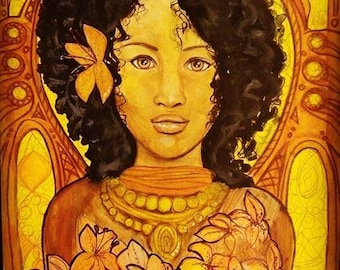 Tiger Lily Art - African Woman Art - Yellow Art - Yellow Wall Decor - Original Painting - Original Artwork