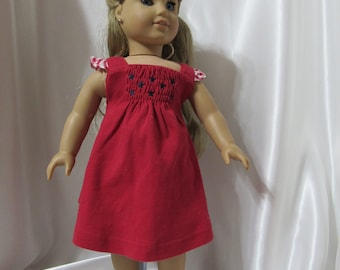 """Short sun dress for 18"""" dolls, perfect for patriotic days or events ."""