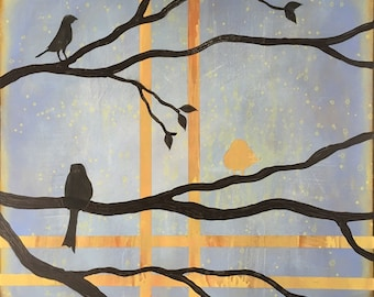 Birds On A Limb 2 Wall Art Series By Artist Rafi Perez Original Art On Gallery Wrapped Canvas 30X30