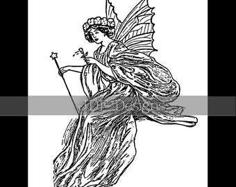 Instant Digital Download, Vintage Edwardian Graphic, Fairy Queen Antique Printable Image, Scrapbook, Fantasy Book Engraving, Flower, Star