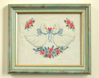 Framed Cross Stitch Embroidery Ducks & Pink Flowers Christmas Gift Under 35 Gifts for Friends Cottage Chic Housewarming Gift Hostess Gift