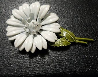 White Enameled Large Flower Vintage Brooch