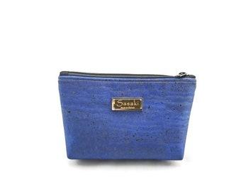 """9"""" x 5"""" - Denim Blue Cork Gadget Bag - zipper pouch - Bag organizer"""