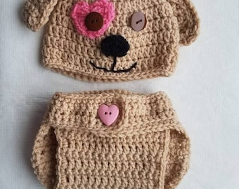 Crochet puppy hat and diaper cover