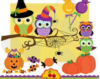 Halloween Cute Owls Digital Clipart Elements Set for -Personal and Commercial Use-paper crafts,card making,scrapbooking,web design