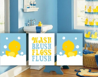 INSTANT DOWNLOAD Duck Bathroom Wall Decor, Wash, Brush, Flush, Yellow And  Blue, Printable DIY Kids Bathroom Art Set Of 3, 8x10, Duck