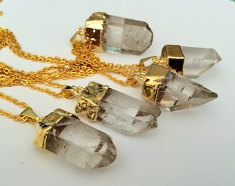 Gold Dipped RAW CRYSTAL QUARTZ Pendant Necklace / Natural Quartz Point Pendant / Choose Your Stone / Crystal Point  / Gift Boxed