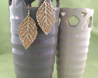 Gold and Silver Leaf Earrings