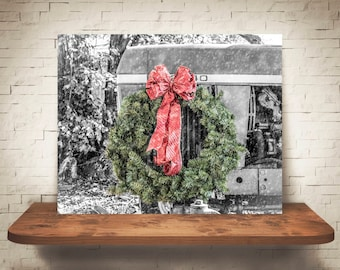 Christmas Wreath Tractor Photograph - Fine Art Print - Farm Photography - Wall Art - Pictures - Farmhouse Decor - Winter Scene - Holiday