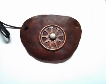 Brown Leather Steampunk Wheel and Rivet Eyepatch