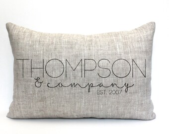 "wedding gift, family pillow, custom pillow, name pillow, anniversary gift, valentine gift ""The Thompson"""
