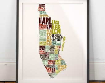 Manhattan typography map, Manhattan map art, Manhattan neighborhoods print, New York art, Manhattan gift idea, hand drawn typography series
