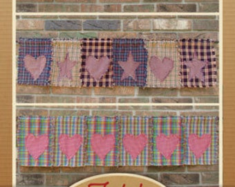 Primitive Hearts & Stars Window Valance Pattern- DIGITAL DOWNLOAD - from Jubilee Fabric