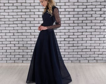 Navy Lace Long Sleeve Mother of the Bride Dress, Mother of the Groom Dress, Tea Length Dress, Mother of the Bride Dresses