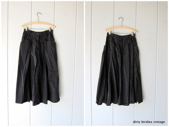 Black Denim Skirt 80s Midi Jean Skirt Vintage Cotton Skirt 90s Cowgirl Boho Hippie Prairie Skirt Women's Small Medium