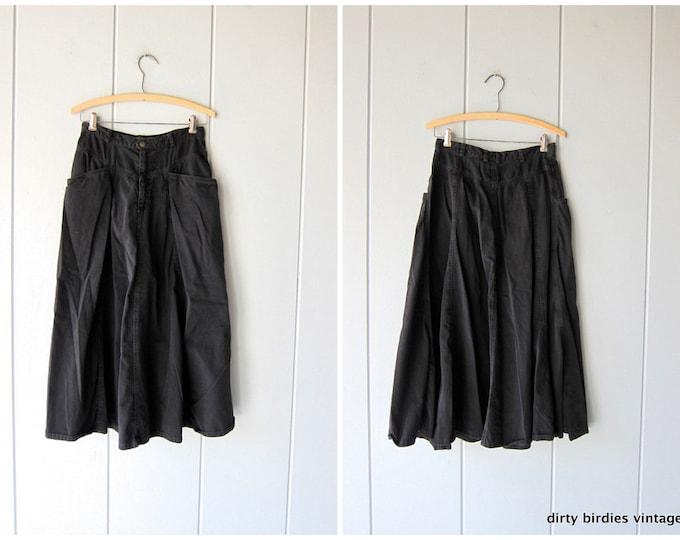 Black Denim Skirt 80s Midi Jean Skirt Vintage Cotton Skirt 90s Cowgirl Boho Hippie Prairie Skirt Women's Small Medium