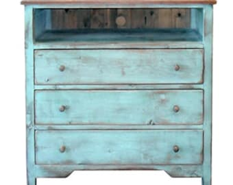 3 Drawer Media Chest, Dresser, Chest, Reclaimed Salvaged Solid Wood, Vintage, Rustic, Shabby Chic, VMW714