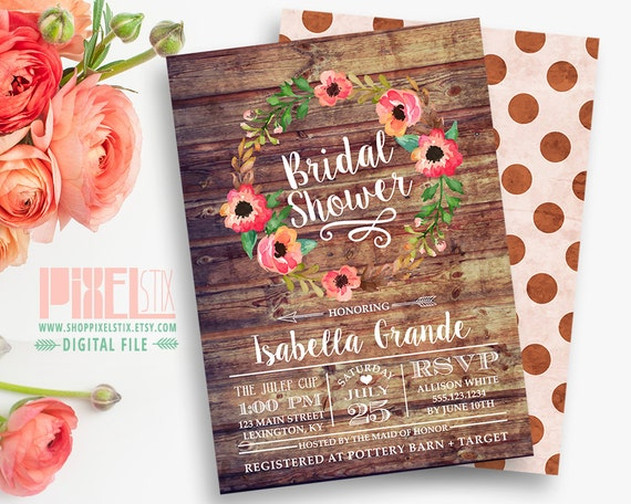 Fall Wedding Shower Invitations: Items Similar To Rustic Bridal Shower Invitation, Autumn