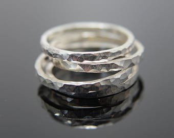 Square hammered texture band ring in Sterling Silver. Stacking ring add on.