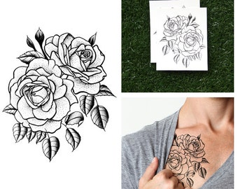 Twin Rose - Temporary Tattoo (Set of 2)