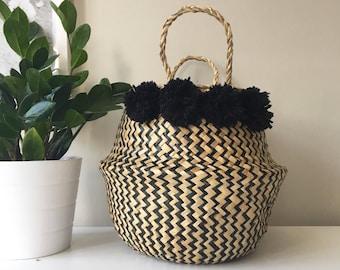 Seagrass Pom Pom Basket - Zig Zag