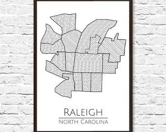 Raleigh NC, Raleigh Map, Raleigh Art, Map Art, City Map, Raleigh City Map, Raleigh Map Art, Raleigh Poster