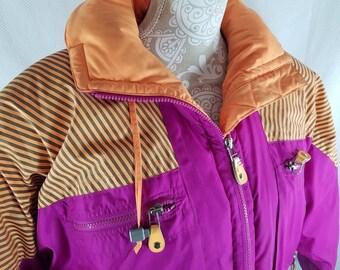 Vtg 80s Neon Pink Orange Profil Ski Jacket Puffy Down Medium