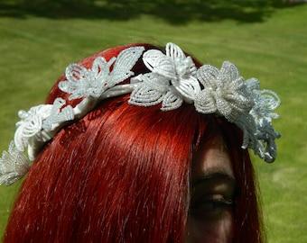 White French Beaded Flower Bridal Headdress Wreath