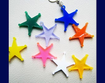 acrylic star charms, mixed colours, perspex star charms, plexiglass star charms, single hole ideal for jewellery crafts