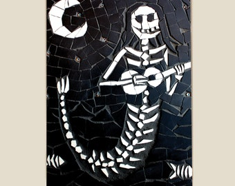 Day of the Dead Print Mexican Art - Black and white print with mount - skeleton mermaid with ukulele